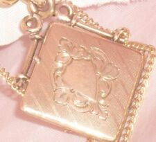 RARE** ANTIQUE VICTORIAN  ETRUSCAN 12CT ROSE GOLD GF FOB LOCKET & LONG CHAIN