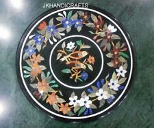 "22"" Black Marble Round Coffee Table Top Multi Color Floral Inlay Hallway Decor"