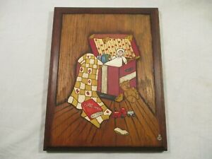 Country Carvings Hand Carved Painted Child's Toy Chest Wood Art Decor Plaque