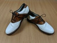 Vintage FootJoy Premiere Classics Golf Shoes White Brown Saddle 50603 Size 10D