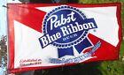 "Vintage Pabst Blue Ribbon Beer Banner Sign Advertise Man Cave Bar 60"" x 35"""