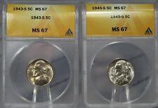 2 Jefferson nickel lot: 1943-S 5C ANACS MS67 and 1945-S 5C ANACS MS67