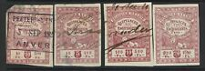 Belgium 4 Revenue Stamps, Used, Hinge Remnant, see notes - S5078