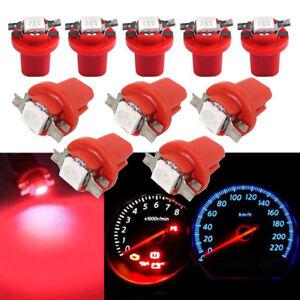 10Pcs Red LED B8.5D T5 SMD Car Gauge Instrument Dashboard Cluster Light Bulb 12V