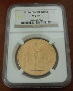 France 1911 A Gold 100 Francs NGC MS62 Angel