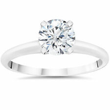3/8ct Anillo de Compromiso Diamante Solitario 14k Oro Blanco
