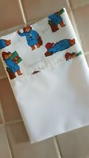 Handmade White Cotton Mix Small Baby Crib/MB Sheet- PADDINGTON BEAR Top Edge.