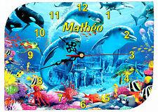 horloge pendule murale dauphin personnalisable texte prénom au choix réf F 50