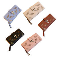 Women's PU Leather  Leaf Hollow Lady Long Wallet Big Capacity Purse Bag Gift
