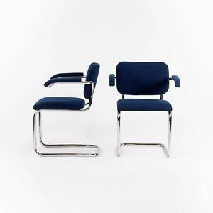 1970s Pair of Marcel Breuer for Knoll Cesca Upholstered Armchairs in Blue Fabric