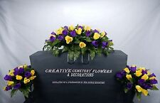 Deluxe Cemetery Flower Memorial Headstone Saddle/Pillow+Matching Vase Bushes