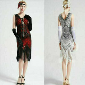 Ladies Vintage Sequins Dress Party Dresses Evening Gatsby Flapper Fringed 1920s