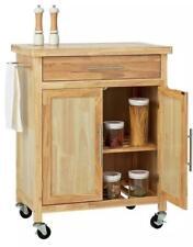 Wooden Tabletop Kitchen Island Storage Trolley Rolling Cart 2 Doors Towel rail
