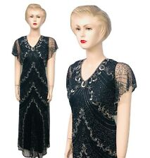New Ladies Black Sequin Beaded Vintage Evening Long Dress Plus Size 24 to 30