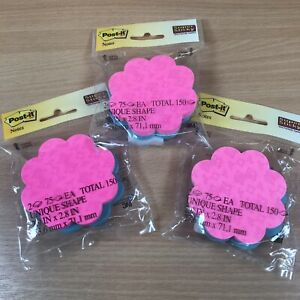 Post it® Notes - 3x packs of 150 (450) Flower Shaped Sticky Notes - 73 x 71mm