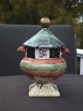 Mackenzie Childs Torquay Sugar Bowl Canister Palm & Devon Brass Finial