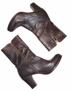 Womens FRYE Fiona Brown Leather Zip Calf Buckle Heeled Boots Size 8.5