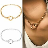 Fashion Simple Ring Pendant Necklace Gold Silver Chain Choker Collar Chunky Gift
