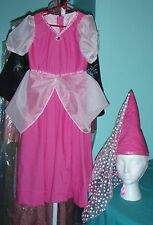 Pink Princess Dress with Pointed Hat & Floral Hat Scarf for Girl size 4-5 FSGC01