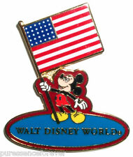 WDW Mickey Holding American Flag Pin (Red/Light Blue)