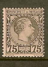 "MONACO STAMP TIMBRE N° 8 "" PRINCE CHARLES III 75c NOIR 1885 "" NEUF xx TB SIGNE"