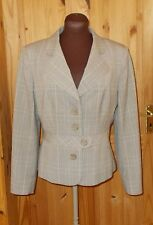 PER UNA M&S beige brown taupe gold check office function blazer jacket 12 40