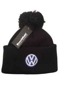 Volkswagen Beanie Bobble Wooley Beanie Hat Black Blue Logo