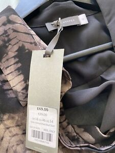 Mint Velvet Grey Brown Black Printed Blouse Shirt Star Studs BNWT