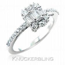 Emerald Engagement Cluster Fine Diamond Rings