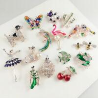 Lot Cartoon Little Bee Insect Crystal Rhinestone Collar Brooch Pin Women Jewelry