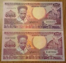 2 X Suriname Banknotes. 100 Gulden. Dated 1986 & 1988. Unc.