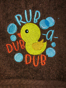 Embroidered Brown Bathroom Hand Towel HS1543R Yellow  Ducky Rub a Dub Dub