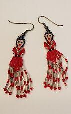 Red Silver Black Seed Bead Beaded Southwest Boho Fringe Earrings Lady in Dress