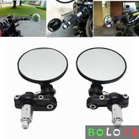 2Pcs Universal Motorcycle Mirrors 7/8 inch Handle Bar End Rearview Mirrors Black