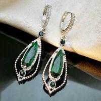 Trendy 925 Silver Emerald Earrings Ear Hook Dangle Woman Wedding Gift Jewelry