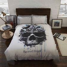 Rapport Gothic Sacred Heart Vintage Skull Floral 3d Effect Duvet Set S/d/k Double