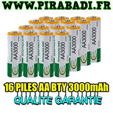 16 PILES ACCUS RECHARGEABLE AA NI-MH 3000mAh 1.2V LR06 MIGNON - DIRECT DE FRANCE