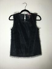 =CHIC= ROSĒ Black Fringe Metallic Silver Thread Striped Christmas Party Top US6