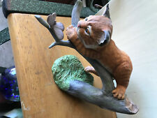 Captivated figurine of cat climbing tree with butterfly Franklin Mint