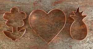Williams-Sonoma Set of 3 Copper Cookie Cutters Flower Pineapple Heart