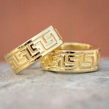 Silver Solid Greek Key Hoop Earrings Mens Top quality 14K Gold Sterling