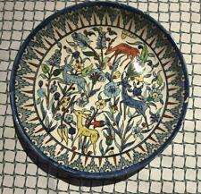 "Gorgeous Vintage ISRAEL Jerusalem Armenian Pottery 13"" BOWL signed deer+flowers"