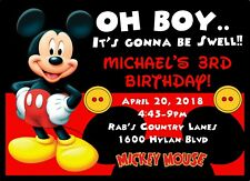 10 Mickey Mouse Red Black Invitations w/ envelopes Birthday party PERSONALIZED