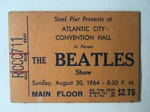 THE BEATLES CONCERT TICKET ATLANTIC CITY 8/30/64