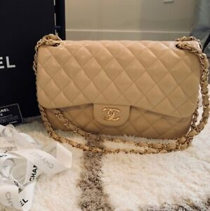 Classic Beige Leather Timeless Chanel  small Double Shoulder Flap Bag