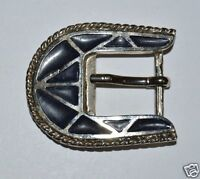 WOW Vintage Ornate Black & Silver Tone Western Jeans Belt Buckle RARE