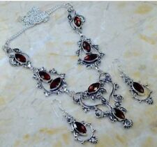 STUNNING GENUINE FACETED MARQUISE SHAPED GARNET 925 SILVER EARRINGS/NECKLACE SET
