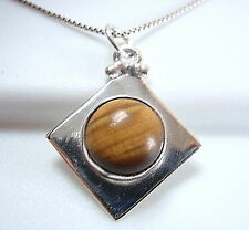 Tiger Eye Necklace 925 Sterling Silver Sphere on Square New Cube Round