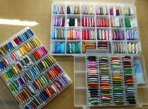 Lot of over 360 Numbered & Carded Skeins of DMC X Stitch Floss in 3 Cases