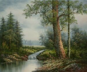 """24""""x 20"""" Oil Painting on Canvas, Woodland Stream, Hand Painted"""